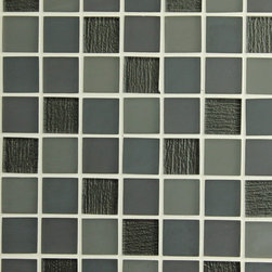 Bahia Square Grey Glass Mosaic Tiles, 10 Square Feet - A smoky mix of matte blue greys come together with high gloss black squares. The textured backing has a crinkled effect giving them a one of a kind look. A great choice for a kitchen backsplash, accent strip, or perhaps a feature wall behind your bathroom vanity! Smoke also comes in a strip mosaic blend.