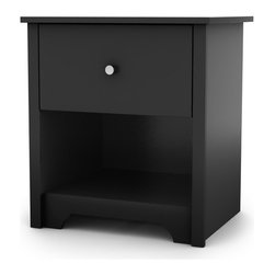 South Shore - Vito 1 Drawer Nightstand - The Vito nightstand goes beyond mere functionality to become an indispensable accent piece in your bedroom. This attractive nightstand incorporates sleek, straight lines for modern style and also features a kickplate that softens the overall appearance with the impression of carved feet for a refined touch. An open storage space is augmented with a Smart Glide drawer that includes dampers and stops for smooth opening and closing and a simple yet effective metal knob as a contrasting accent. This nightstand will bring contemporary good looks to the side of your bed or the corner of your bedroom. Features: -Smart Glides on drawers provide safe opening and closing, easy access and smooth opening.-Eco-friendly.-Improved packaging New packaging uses 60% less non-biodegradable materials.-Energy efficiency Yearly, 5 to 6 tons of wasted paneling are converted into energy used internally.-Environmentally Preferable Product (EPP) certification Already meeting the very strict 2009 California Formaldehyde Regulations.-Greener communication tools Reduced format on recycled paper and conversion to electronic format.-A Green Future in mind: A member of the Composite Panel Association whose mission is to work towards more ecological and environment-friendly panel solutions.-Wood composite construction.-Vito collection.-Protecting our Environment for Generations to Come! South Shore Furniture is proudly taking a stand on its environmental positioning and is supporting its words with very concrete actions and a vision for a healthy future. Current actions include:.-Distressed: No.-Collection: Vito.-Country of Manufacture: Canada.Dimensions: -Overall Product Weight: 33 lbs.Warranty: -South shore provides five year warranty.