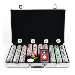 Trademark Poker - 650 Pc 4-Aces Poker Chip Set w Executive Alum - Set includes:. Aluminum carrying case. 650 Pieces pre-selected chips  and denominations. 2 Decks of playing cards. 1 Dealer button. 1 Big blind button. 1 Little Blind button. Overall dimensions: 18.38 in. L x 14.5 in. W x  2.88 in. H (23 lbs.)These casino-sized chips are 11.5 g. in weight. They are produced from a composite resin and an insert that gives them the weight feel of a heavy casino quality chip. What makes them unique however, is the high resolution graphic label that is applied to the chip. This graphic is of the highest quality and offers players a chip with a superior look and feel. All chips have a colorful image of a 4-of-a-kind poker hand in aces surrounding the denomination. Each denomination is a slightly different label color, matching the color of the chips' stripes. The best part about these chips is that they already have the denominations on them. There are 10 different denominations in this chip series, including $1, $5, $10, $25, $50, $100, $500, $1000, $5000, and $10000. Play your No Limit Hold' Em games and all your other high stakes casino games with these chips! Or play low stakes games too. These chips are very flexible for any game. The detail on these chips is flawless and their unique design makes them great for casinos and home-style play alike. Your Chips will be protected in this aluminum case. This chip case will offer you the most protection for your investment and feature the best look. It is produced from the finest aircraft aluminum and reinforced throughout, and yet it is lightweight. The interior is Black felt with space for 650 chips and 2 decks of cards and features a space for your holdem dealer button as well as big and little blind buttons. This is the chip case that will last a lifetime. Playing cards depicted are subject to change without notice. It is at our discretion to replace playing cards with a similar product of equal or higher quality at any 