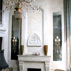 Florencia Mantel with Optional Overmantel - The Florencia features curved legs with an intricate and beautiful floral ornamentation on the lintel. This mantel is also available without the floral ornamentation on the lintel.