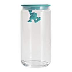 """Alessi - Alessi """"Gianni"""" Kitchen Glass Box, Light Blue - A kitchen box in glass with hermetic lid in thermoplastic, Gianni is a little man holding on tight."""