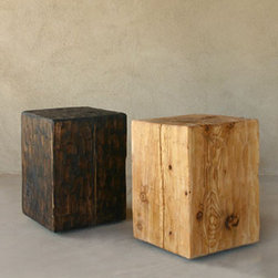 Pine Cube Table/Stool - A side table really cannot get a whole lot more rustic than a this plain pine wood block. It adds a nice blocky element to any room in your home. Use it as a side table, turn it on its side for a coffee table, or perhaps flank a platform bed with a pair to use as nightstands.