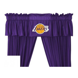 Sports Coverage - Sports Coverage NBA Los Angeles Lakers Valance - Finish off the room in style with this great looking NBA Los Angeles Lakers Valance. A must have for any true fan! Show your team spirit with this officially licensed NBA team Valance. The Valance has a 3 rod pocket for gathering and 2 header. Screen printed logo in center on official team colors. Coordinates with Collection. Self lined. Drapery is sold separately.    Features:  - Valance is 14L x 88W ,   - Logo is screenprinted,    - 100% Polyester Jersey Mesh,    - Machine washable ,
