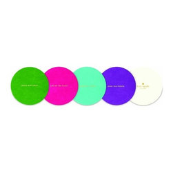 Kate Spade - kate spade Coaster Set - Multi-Color, Set of 24 - Our bright and colorful Multi-colored Coasters from kate spade new york will get the party started. Each coaster is printed with a darling expression that's just enough to break the ice. Available in a set of 24.