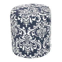 Indoor Navy and White French Quarter Small Pouf