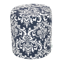 Majestic Home - Indoor Navy and White French Quarter Small Pouf - The beanbag from back in the day has had a major makeover. This stylish, versatile pouf is perfect for your favorite setting, functioning as a seat, footstool or side table. And talk about easy care: Simply unzip the slipcover and toss it in the wash.