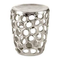 Openwork Stool - This fun open design adds a hint of whimsy to a space. This piece would be a perfect side table beside a chair.