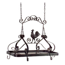 """IMAX - Coq-au-Vin Pot Rack - Brown metal hanging pot rack with country kitchen rooster Item Dimensions: (21""""h x 24""""w x 14"""")"""