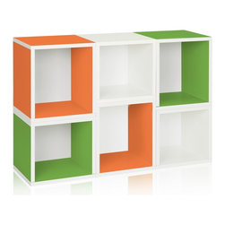 Way Basics - Stackable Arlington Modular Storage, Green Orange White - The Arlington Modular Organizer is a configuration of our Cubes and Cubes Plus. Perfect as a statement piece, storage cubby, or kid's playroom storage solution, the Arlington will help you and your family stay organized!
