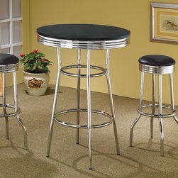 """Wildon Home � - Ridgeway 30"""" Bar Table in Black - Features: -Ridgeway 30"""" Bar Table only. -Matching Bar Stools available . -Casual style. -Black finish top with chrome accents. -Chrome rimmed top, legs, and pedestal. -Smooth finish with chrome trim. -Dimensions: 41.75"""" H x 30"""" W x 30"""" D."""