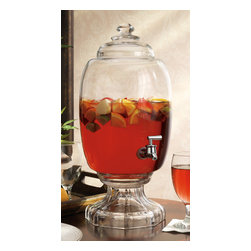 Godinger Silver - Westbury 3 Gallon Crystal Beverage Dispenser - The perfect accessory for serving some cold refreshment on a hot day, this Westbury Crystal Beverage Jug with pedestal makes pouring your favorite drink a breeze. The Jar-shaped jug can hold up to 3 gallons of liquid, dispensed through a high quality plastic spout. Display as your table centerpiece for any party, event and occasion and it will become the focal point for your home or bar.