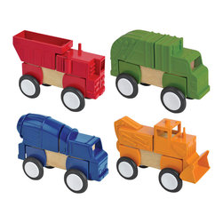 Guidecraft - Guidecraft Block Mates: Construction Vehicles - Guidecraft - Wooden Play Sets - G7605 - Block Mates with wheels! Our Block Mates Construction Vehicles collection features heavy-duty plastic parts with our patented nylon gasket ensuring a snug fit over existing unit blocks. The set features a dump truck sanitation truck cement mixer and backhoe. Can be built in their natural form or mixed and matched with other Block Mates sets to create new imaginative vehicles. Blocks not included. Ages 3+.