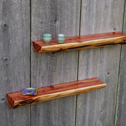 "Cedar Log Shelves - Nice matching pair of Cedar floating shelves 23"" x 45"". Reclaimed from a log home. Awesome color variation, very unique and definitely an eye catcher. Keyhole fasteners for easy simple install."