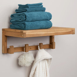 Teak Towel Shelf with Square Hangers - The Teak Wood Towel Shelf with Square Hangers will be the perfect addition to your bathroom. Store towels on the shelf and hang your robe from one of the four hooks.