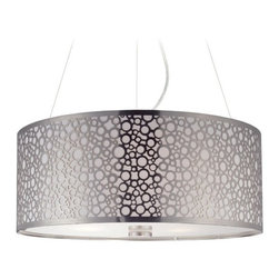 Modern Drum Pendant Light with White Glass in Polished Steel Finish -