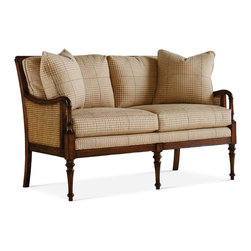 Baker Furniture - English Cottage Settee - Exposed wood Lounge Chair with double caning. Recessed crest rail. Loose back and seat. Scrolled arm. Turned legs.