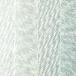 Schumacher - Chevron Texture Wallpaper, Mineral - Chevron Texture is composed of raised diagonal stripes, which are created by hand and form a wide herringbone pattern. This tailored wall-covering has a glamorous, metallic surface in a range of colors from pale White Gold to deep Burnished Bronze.