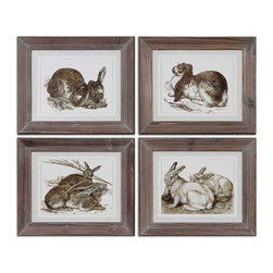Uttermost - Uttermost Regal Rabbits 13x11 Rectangular Framed Art - Prints are Accented by Pale Gray Ombre Mats. Frames are Made of Reclaimed Wood with a Heavy Brown Basecoat and Light Gray Wash Outlining the Wood Details.
