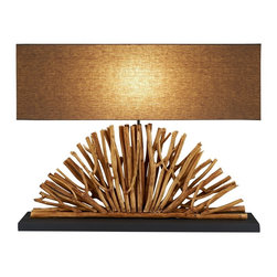 Scandinavian Design - Eucalyptus Branch Console Lamp - Fan Console lamp is made of Natural Eucalyptus Branch that is crafted uniquely in the shape of a Fan.