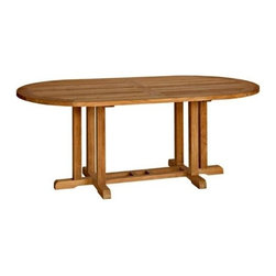 "Camden Teak 72"" Oval Dining Table - If coastal bliss is the furniture flavor you like, this Camden 72� Oval Table is   the quintessential feeling of a nautical-style ensemble. In Maine there is a   city on the coast called Camden � just like the charm of this table it is   captivating and evocative of the sea. The entire table is crafted of   high-quality Grade A Teak wood, known for its weather resistant fortitude and   lustrously-polished and sanded finish. Large enough for entertaining six people   � with a spacious 72� x 38� surface."