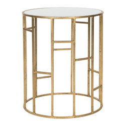 Safavieh - Doreen Accent Table - Inspired by the Golden Mean of ancient geometry, the Doreen Accent Table embraces the clean lines of modernity to make it a design star. Crafted with a gold-leafed iron base and white glass tabletop, it instantly refreshes any decor.