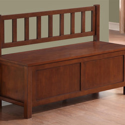 WyndenHall - Stratford Auburn Brown Entryway Storage Bench - Add an elegant functional furniture piece to your entryway or any other room in the home with the Stratford Entryway Bench. This sturdy and stylish bench offers convenient seating for putting on shoes.