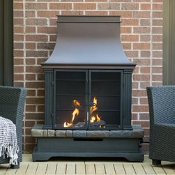 Red Ember Fairfield Propane Fireplace - Add cozy heating comfort to your outdoors. The Red Ember Fairfield Propane Fireplace brings any outdoor space to light. This outdoor fireplace is fueled via 20-lb. propane tank (not included) and features easy electronic ignition. Envirostone is a remarkable blend of resin and marble that can be used to replicate a range of looks. The stainless steel burner kicks out an incredible 50 000 BTUs. It includes a lava rock and faux logs for a realistic looking wood burning fire. A timeless black finish and 180-degree flame visibility make this piece red hot. About Red EmberAt the center of any good outdoor gathering is a fire. At the center of a fire a Red Ember. We make fire products designed to bring people together. Red Ember products harness the age-old power of fire to comfort heat cook and enchant. Our experience and expertise in the industry allow us to provide added features and extras without burning a hole in your pocket. It's not about spending a lot of money - it's about lighting a fire. Get together and gather 'round a Red Ember.