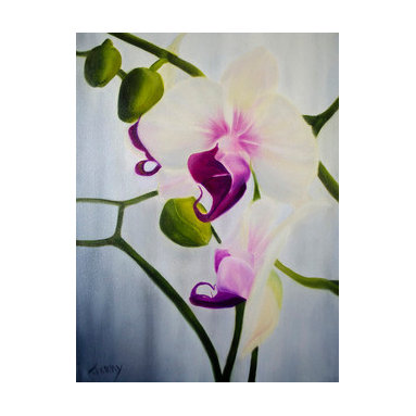 A Sunny Day (Original) by Jerry Sullivan - What can be more cheerful than sunlight shining through sheer curtains onto a beautiful orchid? Hang this where you can see it to brighten your day! Framed in a simple gold frame and ready to hang and enjoy! 12x16 is canvas size without frame.