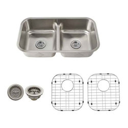 Schon - Schon 18-Gauge 32-1/2 x 18-1/8 Low Divide Snk - SCLD505018 18 Gauge Schon Undermount Sink Stainless Steel 50/50 with Low Divided Sink 32 1/2 x 18 1/8, Grids, Strainers