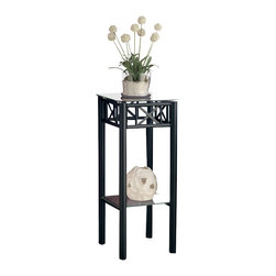 Monarch Specialties - Monarch Specialties 3078 Plant Stand in Black - With its classy Glass top, this plant stand gives a warm feel to any room. Its original black metal base provides study support as well as an elegant look. Use this multi- functional table to place your favorite plant, or decorative piece. It will be a sure eye catcher!