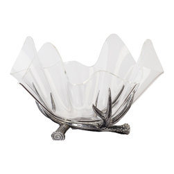 "Arthur Court - Antler Stand w/ 14'' Acrylic Bowl - A clear winner in the ""Most Beautiful Bowl"" contest. While the base is crafted of sand-cast aluminum in the shape of Arthur Court's iconic antler motif, the actual bowl is made of sparkling, clear acrylic. It makes the perfect light touch for your salads and fruit."
