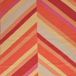 Jaipur Rugs - Flat-Weave Stripe Pattern Wool Orange/Red Area Rug - An array of simple flat weave designs in 100% wool - from simple modern geometrics to stripes and Ikats. Colors look modern and fresh and very contemporary. Origin: India