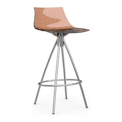 Calligaris - ICE Counter Stool, Satin Frame, Transparent Orange, Non-Swiveling - Your contemporary kitchen is not complete without a set of chic counter stools. Pick from six modern colors for the seat and finish the look with either chrome or satin hardware for the base. You'll love pulling up a stool for your morning cup of espresso.