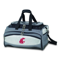 "Picnic Time - Washington State Buccaneer Cooler And Barbecue Set - The Buccaneer is a Picnic Time original design and the ultimate tailgating cooler and barbecue set in one! Don't be fooled by other similar looking items on the market. Only Picnic Time's Buccaneer features a PVC cooler that conveniently nests inside the compartment that houses the portable BBQ. The tote can carry the BBQ and a fully-loaded cooler at the same time! This patented, innovative design features a large insulated and fully-removable, water-resistant cooler that measures 16 x 8 x 7"" and holds up to 24 12-oz soda cans. Unzip the cooler from the main tote to access the portable charcoal barbecue grill that's included. The cooler has two carry straps on either side, and features a mesh pocket on the interior lid that fits a large ice pack/gel pack. The Buccaneer also features an adjustable shoulder strap with comfort pad, a reinforced waterproof base, three large zippered exterior pockets to store personal effects, padded carry handles, and a stretch cargo cord on the top of the tote to carry a blanket or towel. Included in the tote are: 1 portable charcoal BBQ grill with lid (16.7 x 10.8 x 5.1""), one black drawstring bag to hold the grill, and three stainless steel tools with aluminum handles and non-slip thumb grips: 1 large spatula featuring a built-in bottle opener, grill scraper, and serrated edge for cutting, 1 pair of tongs, and 1 BBQ fork. Don't be caught without the Buccaneer at your next tailgating party!; College Name: Washington State; Mascot: Cougars; Decoration: Embroidered; Includes: 1 BBQ grill with lid 1 Large spatula with serrated edge 1 Pair tongs 1 BBQ fork 1 Removable, insulated cooler tote"