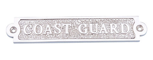 Handcrafted Nautical Decor - Chrome Coast Guard Sign - Ideal   for posting on a boat, in a boathouse, or any nautical themed room,   this chrome Coast Guard sign 6'' proudly displays your connection to the sea. Handcrafted   from solid chrome, with stylish chrome framing, this beautifully   shining sign has a classy nautical appeal with bold and clear lettering   on a chrome face. ------    Elegant solid chrome design--    --     Handcrafted with precise detail--    --     Textured solid chrome background--    ----Sign requires two screws for easy mounting (not included)--