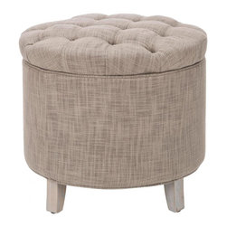 Safavieh - Adalie Ottoman - The essential storage ottoman, Adalie is transitional in design with button tufted quilted top and oak legs distressed grey finish.  Practical and fashion right, the linen-texture stone fabric is a blend of viscose and polyester.