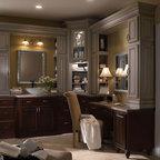 Dark Wood Bathroom Cabinets - Schrock Cabinetry -