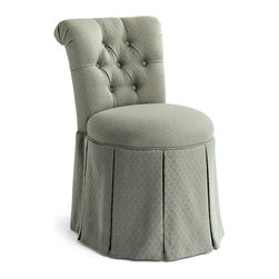 Frontgate - Sandra Vanity Stool - Cornerblocked hardwood frame. Teflon® treated, linen/cotton fabric. Deeply tufted roll-top back. Smooth-swivel seat and casters. Sound design with superior construction make our Sandra Vanity Stool an elegant addition to any bath or beauty table. Flawless in form and full of function, this seat quietly charms all with its plush comfort and graceful demeanor.  . Teflon treated, linen/cotton fabric .  .  .