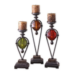 Uttermost - Uttermost 20489  Kalika Wrought Iron Candleholders Set/3 - Lightly distressed, translucent ruby red, green and amber with crackled wood tone and wrought iron details. antiqued candles included. sizes: sm-7x19x5, med-7x23x5, lg-7x27x5