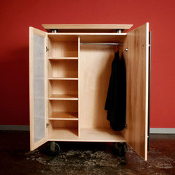 Rolling Wardrobes - Designed to do double duty as reconfigurable room dividers and wardrobe storage, these rolling cabinets incorporate large, industrial steel casters. Clear-finished Maple, translucent acrylic with embedded glass fibers, and mild steel with an acid patina.
