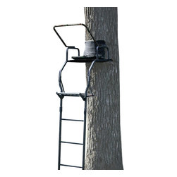 Buffalo Tools - Buffalo Outdoor 17 Foot Deluxe Single Seat Ladder Stand - 17 Foot Deluxe Single Seat Ladder Stand by Buffalo Outdoor Give yourself an advantage during hunting season with the Buffalo Outdoor 17 Foot Deluxe Single Seat Ladder Stand. This single person Ladder Stand features a large padded camo seat, foot rest, and a fall restraint system so you are comfortable and safe while waiting for the deer to come into view.  The padded shooting rail improves your stability and aim when lining up the shot.  The Buffalo Outdoor 17 Foot Deluxe Single Seat Ladder Stand measures 17 feet high to the top of the shooting rail and requires a tree with a minimum diameter of 9 inches to install safely. The welded steel frame can hold up to 300 lbs and has a welded steel construction with black powder coat finish to blend into the tree and woods.  Give yourself an advantage during hunting season Padded shooting rail helps improve stability and aim Single camo padded nylon seat measures 20 W x 13 inches D Foot rest and fall restraint system keeps you comfortable and safe Requires a tree with a minimum diameter of 9?ǥ Measures 17 ft. high to shooting rail 300 lbs maximum weight capacity Frame has a welded steel construction with black powder coat finish
