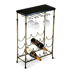 Urban Wine Table - Elegantly restrained in a turn-of-the-century mix of dark granite and warm metal, the Urban Wine Table cradles wine bottles in repeated scallops of metal that look like a timeless stylized wave design and fill a practical need with an artful minimalist solution. A knob-ended glass rack makes it easy to keep the proper glassware for each variety of vintages at hand.