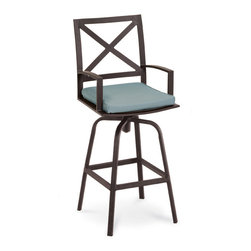 Thos. Baker - Terrace Outdoor Swivel Bar Stool - Masterfully crafted to combine beauty and function, our high-performance wrought aluminum  terrace collection is hand-welded, highly durable and virtually maintenance-free.  The dark chocolate powder-coat is an excellent choice for elegant outdoor lounging and dining sets.Plush Sunbrella cushion sets included where applicable. Choose quick ship in khaki with cocoa piping, stone green or choose from our made-to-order fabric options.