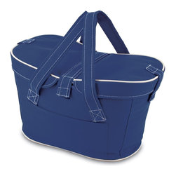 Picnic time - Mercado Basket- Navy - The Mercado Basket combines the fun and romance of a basket with the practicality of a lightweight canvas tote. It's made of red polyester with water-resistant PEVA liner and has a fully removable lid for more versatility. Take it to the farmers market, the beach, or use it in the car for long trips. Carry food or sundries to and from home, or pack a lunch for you and your friends or family to share when you reach your destination. The Mercado is the perfect all-around soft-sided, insulated basket cooler to use when you want to transport a lunch or food items and look fashionable doing it.