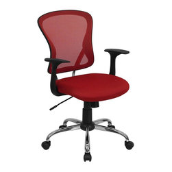 Flash Furniture - Mesh Back Adjustable Height Executive Office - Ergonomically contoured back. Lumbar support. Thickly padded. Red mesh upholstered seat. Nylon arms. Spring tilt mechanism. Tilt tension adjustment. Pneumatic seat height adjustment. Chrome finished base. Heavy duty nylon casters. Warranty: 2 year limited. Assembly required. Back: 19 in. W x 19.5 in. H. Seat: 19.75 in. W x 19.25 in. D. Seat Height: 19.5 - 25.5 in.. Arm Height from Seat: 7.5 in.. Overall: 27 in. W x  25.25 in. D x 42.25 in. H (30 lbs.)