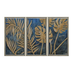 Ren-Wil - Ren-Wil W6077 Foliage in Gold Vertical Alternative Wall Decor by Liza Stones - This hand painted triptych features golden leaves set on a beautiful blue background and covered in high gloss. The gold leaves are hand molded and attached to the canvas for a dimensional look. Foliage in Gold is mounted on a white mat and finished with a matching gold frame.
