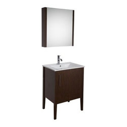 "Vigo Industries - VIGO 24"" Maxine Single Bathroom Vanity with Medicine Cabinet - Wenge - Elegance is at your fingertips with this beautiful VIGO bathroom vanity. No other brand can match VIGO's style, quality and design. This 24-inch freestanding vanity features one large, soft closing door with a sleek vertical chrome finished handle, while the interior features a pull out drawer plus storage shelf. The VIGO Maxine collection is a modern and assertive addition to any bathroom. Features Cabinet is constructed of engineered wood with wood veneers, in a Wenge finish, consisting of an anti-scratch surface for enhanced durability. Interior features a pull out drawer plus storage shelf Contains one white porcelain countertop featuring a fully integrated sink with a single hole for easy faucet installation Includes a medicine cabinet with mirror in matching Wenge finish with adjustable interior glass shelves Includes solid brass, chrome-plated drain assembly All mounting hardware included Vanity is fabricated for freestanding installation This cabinet is shipped assembled 5 Year Limited Warranty Faucet NOT included How to handle your counterView Spec Sheet"