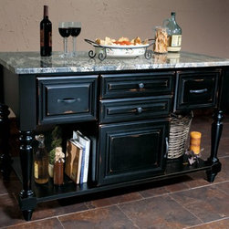 Getting Organized with Fieldstone Cabinetry - Freestanding Kitchen island, being used as a buffet