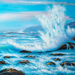 """overstockArt.com - Forceful Winds - 20"""" X 24"""" Oil Painting On Canvas This is a remarkable oil painting with exceptional use of color, detail and brush strokes. Forceful Winds exhibits the allurement, charm and elegance of the oceanic presence. Crashing waves, gentle rocks and blue skies are just a few of the many details this painting has to offer. A delightful setting that is sure to bring many admirers."""