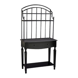 AA Importing - Look Baker's Rack with Spindle Legs and Stora - Great for the kitchen or dining room, this traditional style baker's rack offers handy storage as well as displaying your treasures.  One large lower shelf and two up top can hold cookbooks, collectibles, even large dinnerware, and there's a drawer for linens and flatware.  The open design even makes it ideal for holding a flat screen TV without taking up valuable counter space.  The smart black finish and simple but pure design make this versatile shelf unit ideal for both traditional and modern homes. 1 Drawer. 2 Upper shelves and 1 lower shelf. Pictured in Black. 40 in. L x 18 in. W x 75 in. H (84 lbs.)